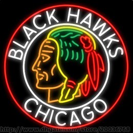 Wholesale Commemorative Chicago Blackhawks Neon Sign Custom Real Glass Tuble Store Shop Display Advertising Sign quot x24 quot