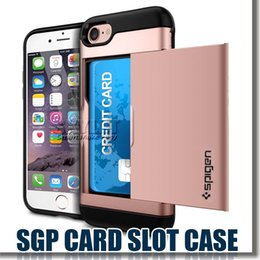 Wholesale SGP Case For Iphone Slide Card Slot Wallet ID Card Case Hybrid in Dual Layer Protector Case For Samsung Note Note5 S7 S6 OPP Package