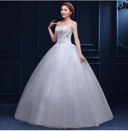 2016 New Formal Bridal Wedding Dresses strapless Lace Applique Crystal Diamond Decoration Wedding Marry Long Sexy Wedding Dress Plus Size