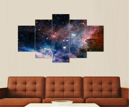 Wholesale 5 panel wall art Space Painting home decoration canvas prints pictures for living room framed art canvas print