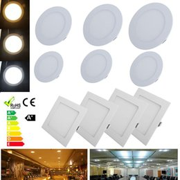 Dimmable 6W 9W 12W 15W 18W 24W EPISTAR LED Recessed Ceiling Panel Down Light Bulb Lamp Super-Thin Led Panel Lights Round Square 110-240V