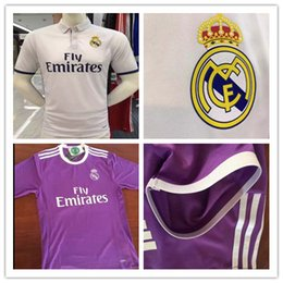 Wholesale Best Quality player version Real Madrid Home white away purple soccer jersey adult mens factory in stock spot sent