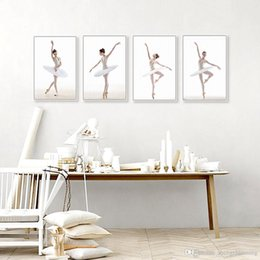 Wholesale Modern Minimalist Black White Ballet Swan Canvas Art Print Poster Nordic Wall Pictures Living Room Home Decor Painting No Frame