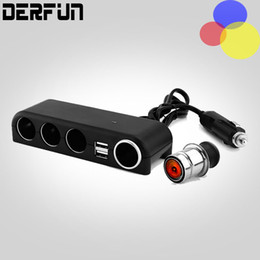 Car-Charger Dual USB Car Charger Adapter 3 Socket Car Cigarette Lighter Splitter Adapter with Build-in Fuse