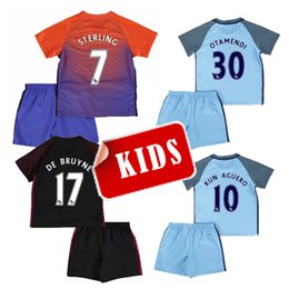 Wholesale 16 kids Manchester City home soccer Jersey Kits SANE KUN AGUERO KOMPANY TOURE YAYA DE BRUYNE away child youth Football Shirt
