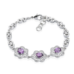 Tastefully 18K White Gold Plated Plum Shape Setting Shiny Violet Zircon Charm Bracelet for Women Party Bracelet