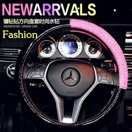 Wholesale 2016 New Arrival Woman Dedicated Car Steering Wheel Cover Diamonds Black Red Fashion High grade Automotive supplies