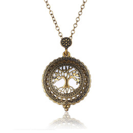 Wholesale Hollow out the tree of life pendant necklace restoring ancient ways Both men and women creative magnifying glass jewelry necklace Christmas