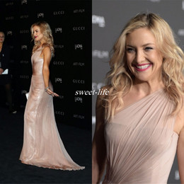 Fashion Kate Hudson Celebrity Dresses Pleats One Shoulder Mermaid Formal Dresses Red Carpet Dress Cheap Pleated Sequined Evening Gowns 2019