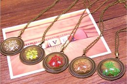 Wholesale NEW arrival Retro jewelry antique bronze tone real beautiful dry flower pendant necklace