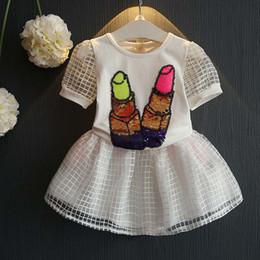 Faldas para las muchachas de los niños en Línea-Chica de moda vestido de ropa de niño Niños ropa de verano 2016 de la lentejuela blanca T Shirts muchachas niños de las faldas cabritos determinados Traje Trajes Lovekiss C25045