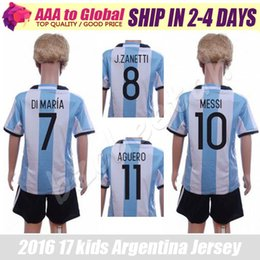 Wholesale Argentina kids kit best thai soccer jerseys Euro Cup children Argentina football shirts boys camisa de futebol Argentina uniforms