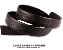 Pure double head layer cowhide automatic buckle belts without agio belt leather men with a body agio belts