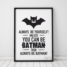 Wholesale pictures of the radio Batman Quote Canvas Art Print Poster Wall Pictures for Home Decoration Frame not include FA246