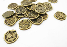 Wholesale Set of letters mm Antique Silver Bronze Charms Pendants Monogram Initial Stamped Wax Seal Alphabet Letter A00130