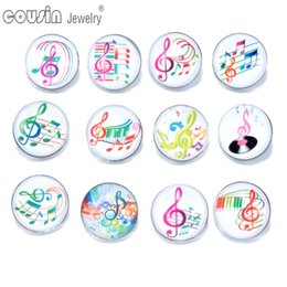 Wholesale 12pcs Mixed Colors Music Symbol mm snap button Jewelry Faceted glass Snap Fit snap Bracelet Jewelry KZ0175