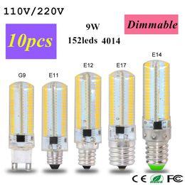 Promotion ampoule g9 conduit Dimmable 110V / 220V 9W G9 B15 E17 E14 E12 E11 Ampoule en mousse LED 4014SMD 152 LED Lampe LED pour lampe à chandelier en cristal