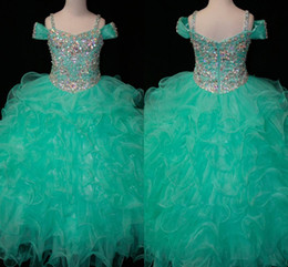 Wholesale Cheap Pink Kids Prom Dresses - Teal Green Flower Girls Dresses Crystals Long Little Girl's Pageant Todder Kids For Girl Infant 2016 Cheap Glitz Communion Prom Ball Gowns