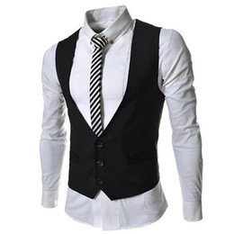 Wholesale drop shipping new fashion Pocket Panelled slim Men s vests Casual men s Outerwear men s cost gray