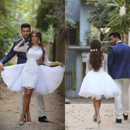 Arabic Wedding Dress Short Mini Sheer Bateau Neckline Illusion Sleeves Lace Appliques Open Back Bridal Gowns with Detachable Over Skirt