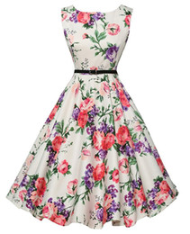 Wholesale 2016 Cheap Vintage A Line Mid Calf Sleeveless Casual Dresses Flora Printed Audrey Hepburn Style s Rockabilly Dress XBS001