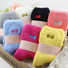 Warm Fuzzy Socks Beautiful Embroidery Bow Design for Ladies Winter Socks Lovely Women towel Socks