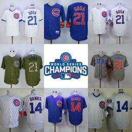Wholesale Sammy Sosa Jersey World Series Champions Jersey Sammy Sosa Ernie Banks Men s Stitched Embroidery Logos Baseball Jerseys