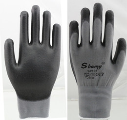 Wholesale sbamy high quality polyester knitted Black PU garden glove seamless knitted super flex cheap style economic