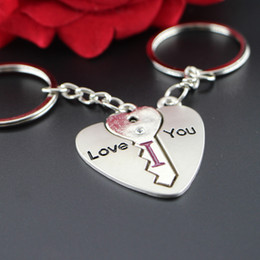Sweet Heart Shape I LOVE YOU Rhinestone Key Chain Ring Keychain Keyring Lover Couple Keyfob Gift Two Style keychain2016