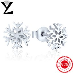 Top Quality Genuine Pure Solid 925 Sterling Silver Snowflake Stud Earrings for Women Bridal Earrings Unique Design for Birthday Gift NE04120