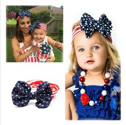 New American Flag Headband 4th of July Independence Day Knotted Headband with Gair Bow American Flag Hair Accessories