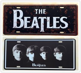Wholesale 2PCS THE BEATLES Road Music Metal Tin Sign License Plate Home Bar Wall Decor Plaque Art Poster