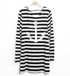 Hot new Women Girl Striped Long Sleeve Anchor Summer T-Shirt Tee Tops S-XL shipping