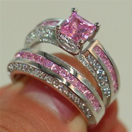 Wholesale Fashion Silver Precious Princess cut Pink Simulated Diamond Jewelry set Engagement Wedding Band Rings Sets for Women Size