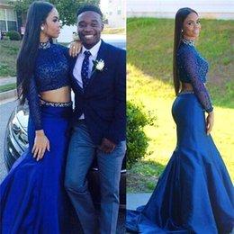 Promotion bleu peplum robe noire Style de Vestidos De Noiva Black Girl Royal Blue Robes de bal sirène 2016 col haut sequin Sexy Perles Deux Pieces Custom Made Party Gown