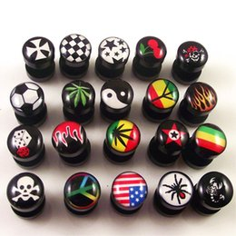 Wholesale 18pair logo fake ear plugs cheat ear expander earring Acrylic fake ear gagues different logo for you choice
