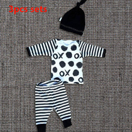 Baby Boys Clothes 3Pcs Suits Hat +Top Tshirt+Striped Pants Toddler Infant Cotton Casual Sets Children Boutique Outfits Birthday Gifts SH-B24