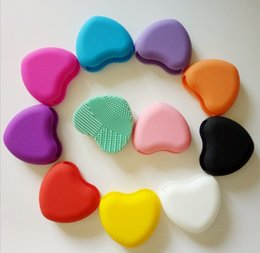 11 colors Fashion Women Egg Cleaning Glove MakeUp Washing Brush Scrubber Board Brushegg Heart Shape Scourer