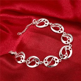 Hot sale christmas gift 925 silver Hollow Bracelet S DFMCH432,Brand new fashion 925 sterling silver plate Chain link bracelets high grade