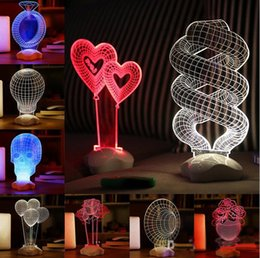Wholesale Touch LED D light illusion Skull Illusion USB Touch Night Light Sculpture Desk Lamp Art Room Decor