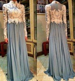 Wholesale Arab Muslim Evening Dresses High Neck Long Sleeves Grey Blue Chiffon Formal Gown Hot Sale