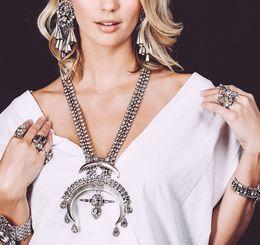 Fashion European Silver Golden Luxury Wedding Bride Flower Rhinestone Crystal Statement Necklace Earrings Set