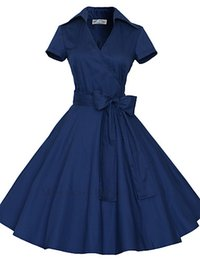 Wholesale 2016 Women s s VTG Retro Rockabilly Hepburn Pinup Cos Party Parka Business Swing Dress