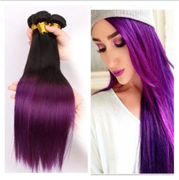 1B Purple Ombre Peruvian Human Hair Bundles Deals Silky Straight Dark Roots Purple Two Tone Colored Virgin Peruvian Hair Weaves 3Pcs Lot