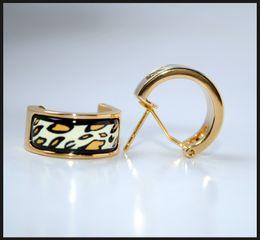 Leopard Series Hoop earring 18K gold-plated enamel earrings for woman Top quality designer hoop earrings