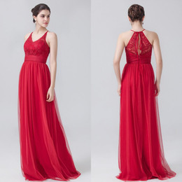 2016 New Arrival Red Bridesmaid Dresses Cheap Jewel Neckline Chiffon Floor Length Lace Long Bridesmaid Dresses for Wedding