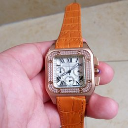 Los mejores relojes de moda de calidad en Línea-vestido de las mujeres del reloj de moda de alta calidad Rhinestone de lujo del cuero de las señoras relojes de cuarzo de acero relojes de oro 2016 El mejor regalo para las mujeres