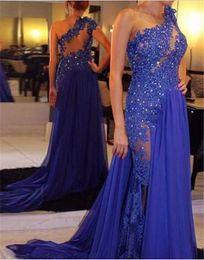 Wholesale Luxury Designer Royal Blue Chiffon Evening Gowns for Arabic Dubai Qatar Women Formal Special Occasion Wear India Prom Ball Split Skirt Gowns