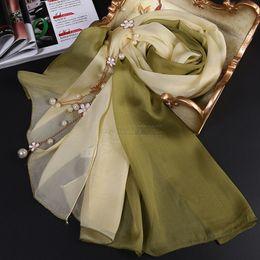 100% pure silk scarf gradient color normal size 175cm
