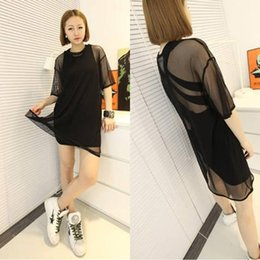 Hot Women Lady Gauze Short Sleeves Loose Casual Party Dress Skirt Black Top blouse shipping